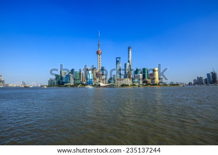 beautiful cityscape of Shanghai under the blue sky - stock photo