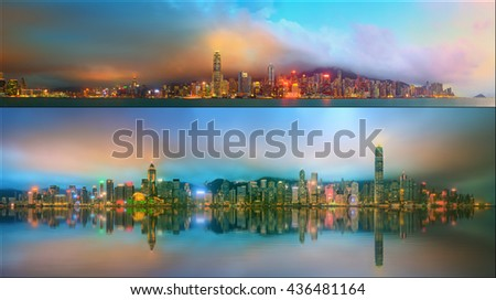 Beautiful cityscape set and collage of Financial district, Hong Kong China - stock photo