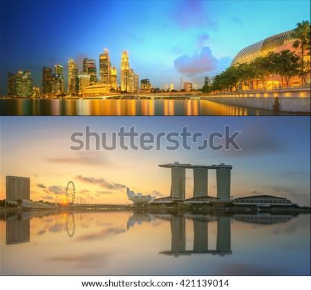 Beautiful cityscape set and collage of Marina Bay - stock photo