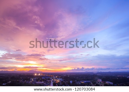 Beautiful Cityscape Sunset at Trang Thailand - stock photo