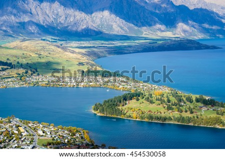 Beautiful cityscape view from the Queenstown Skyline, New Zealand - stock photo
