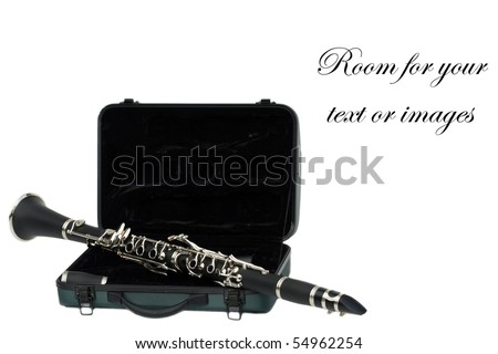 Beautiful clarinet on its travel case isolated on white  with room for your text or images - stock photo