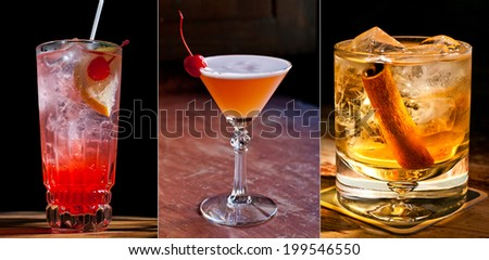 Beautiful classic cocktails. Shirley Temple, Basque Martini, Irish apple. Dark background. - stock photo