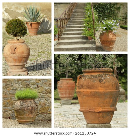 beautiful classic garden planters collection - images from Tuscany, Europe - stock photo