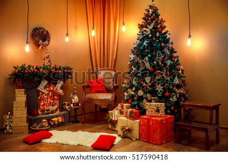 Beautiful classic red and golden Christmas room decor