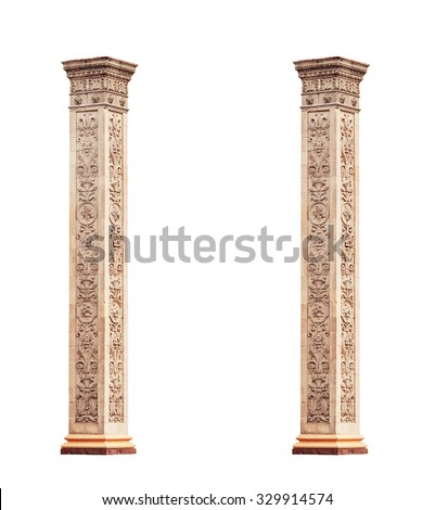 beautiful classical marble columns isolated on white background. - stock photo