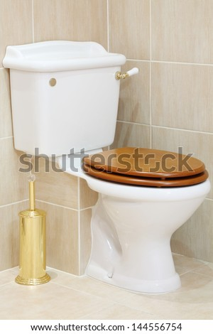 Beautiful, clean and white toilet with wooden lid in bathroom. - stock photo