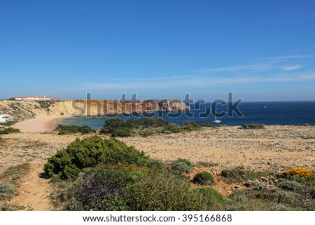 beautiful cliff coast in Sagres, Portugal - stock photo