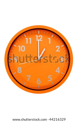 beautiful clock on the wall (01h00; 13h00) - stock photo