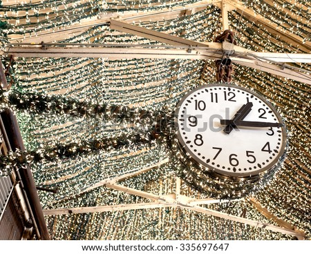 Beautiful clock with lights inside Chelsea Market in New York