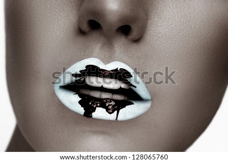 Beautiful closeup portrait of young caucasian female on white background. B&W, perfect skin.