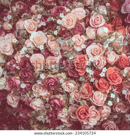 beautiful cloth artificial flowers for background - stock photo