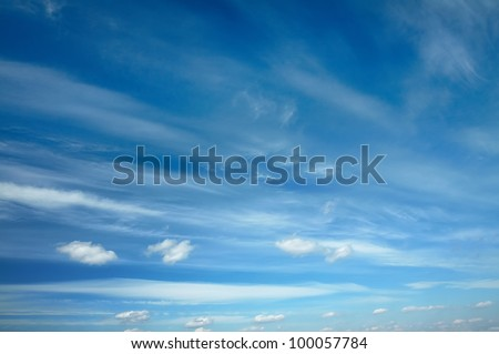 beautiful clouds, blue sky - stock photo