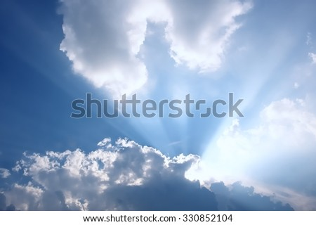 Beautiful Clouds  in cloudscape with light beam  - stock photo