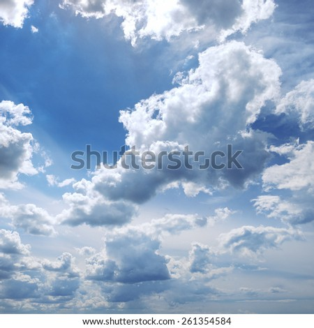 beautiful clouds in the blue sky - stock photo