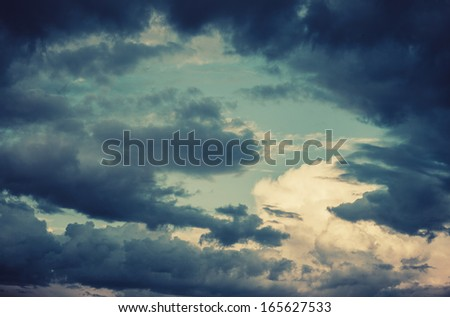 beautiful clouds in the blue sky vintage