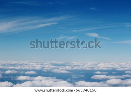 Beautiful clouds in the sky. View from plane. Wonders of nature