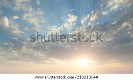 beautiful clouds on a background of a sunset - stock photo