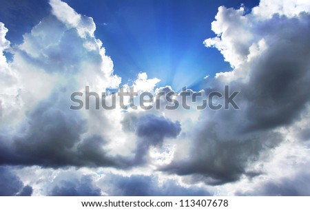 Beautiful clouds on sky background - stock photo