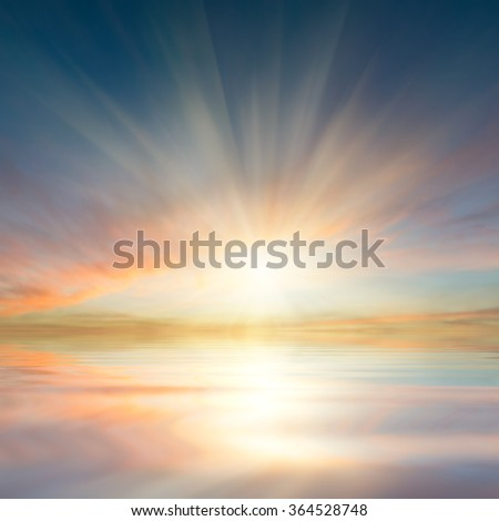 Beautiful clouds reflection in ocean, seascape, nature sky background