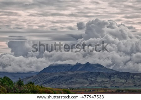 beautiful cloudscape and iceland mountain landscape