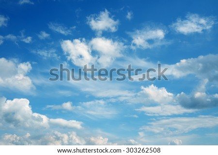Beautiful cloudscape over horizon. Blue sky and clouds. - stock photo