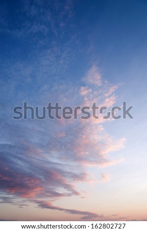Beautiful cloudscape with pink clouds at the sunset
