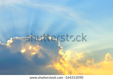 Beautiful cloudscape with sunray  - stock photo