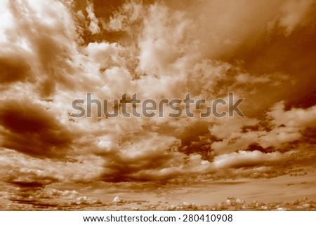 Beautiful cloudy sky background, peaceful cloudscape, toned - stock photo