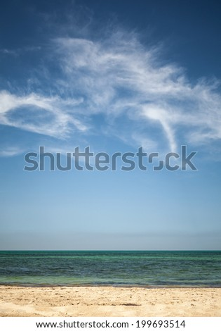 Beautiful cloudy sky over white sandy beach. Vertical photo background - stock photo