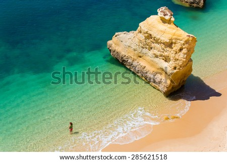 Beautiful coast and beach in Algarve, Portugal - stock photo