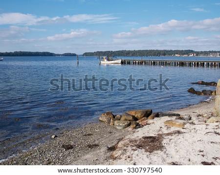 Beautiful coast line ocean beach landscape Funen Denmark - stock photo