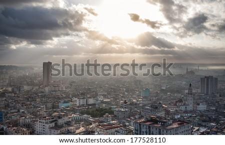 Beautiful coast of Cuban capital Havana, view from hotel window - stock photo