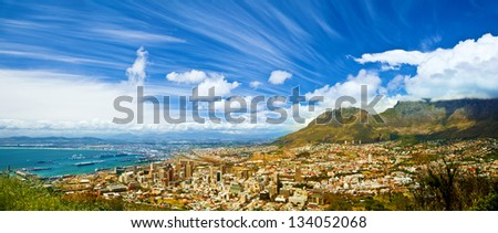 Beautiful coastal city landscape, Capetown, South Africa, high mountains, holiday and vacation concept - stock photo