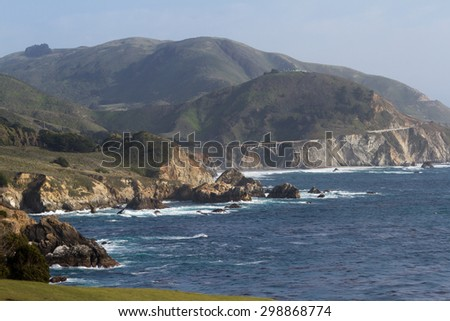 beautiful coastal landscape in Big Sur California with highway 1 and Bixby bridge - stock photo