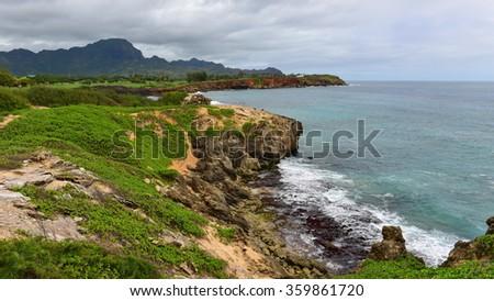 Beautiful coastline along Mahaulepu Heritage Trail in Kauai Island, Hawaii - stock photo