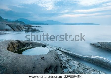Beautiful Coastline at Twilight - stock photo