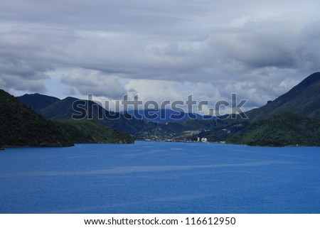 Beautiful coastline of Marlborough Sounds, New Zealand - stock photo