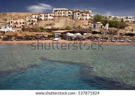 Beautiful  coastline, reef and spa, dream holidays in Egipt. - stock photo