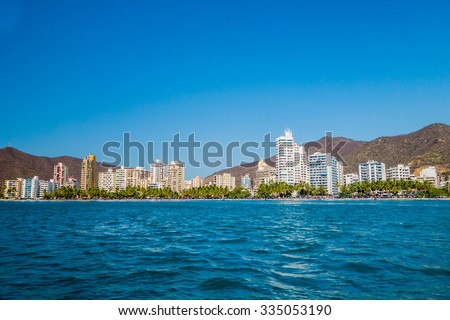 Beautiful coastline view of Rodadero beach in Santa Marta, Colombia - stock photo