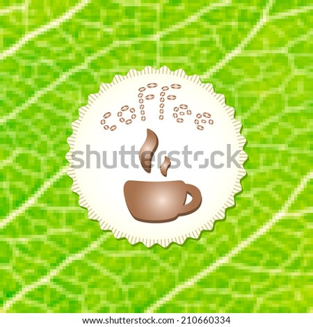 Beautiful coffee cup on stylish mosaic green leaf background. Square illustration. Menu for restaurant, cafe, bar, coffeehouse. Eco style. Natural bio product. - stock photo