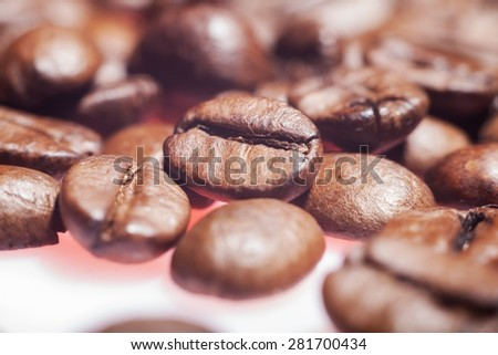 beautiful coffee seeds close-up. background - stock photo