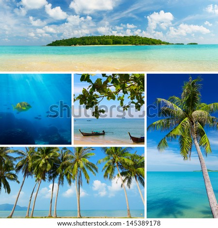 Beautiful collage of tropical images, beach, palm trees, small exotic island - stock photo
