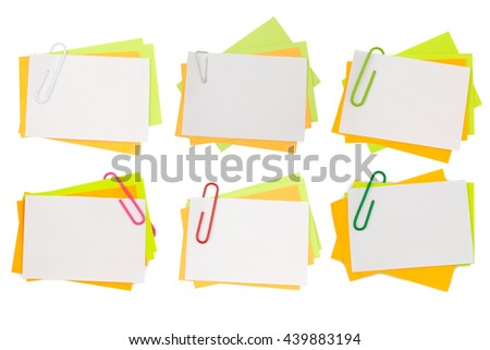 Beautiful collection multi color note with pink paper clip isolated clipping path - stock photo