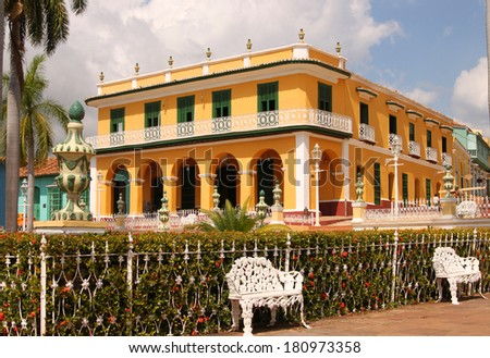 Beautiful Colonial architecture in Trinidad, Cuba as seen from Plaza Mayor - stock photo