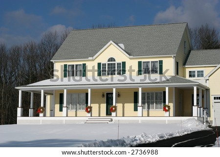 beautiful colonial home in winter