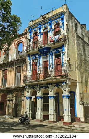 Beautiful colonial house on one of the central streets of Old Havana, Cuba  - stock photo