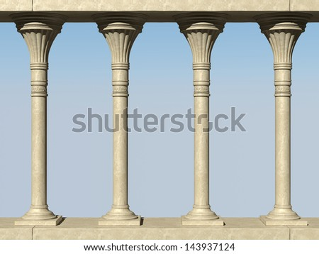Beautiful colonnade against the blue sky. 3D rendering of high quality - stock photo