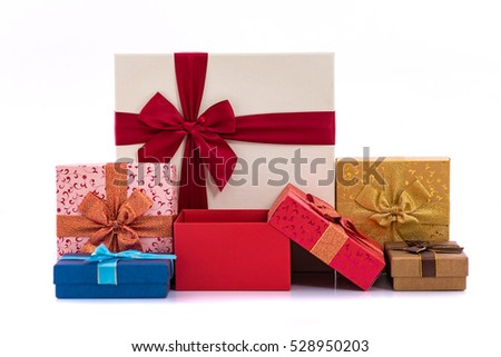 Beautiful color paper gift box for christmas and happy new year on white background isolated.