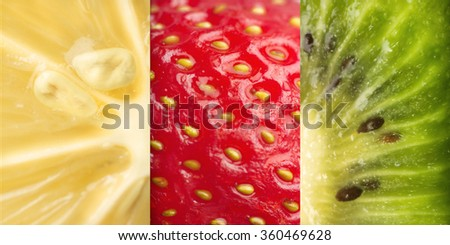 Beautiful colored and tasty fruits background. Healthy fresh fruits background - stock photo